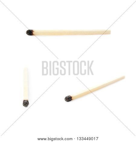 Set of Wooden used burnt match isolated over the white background