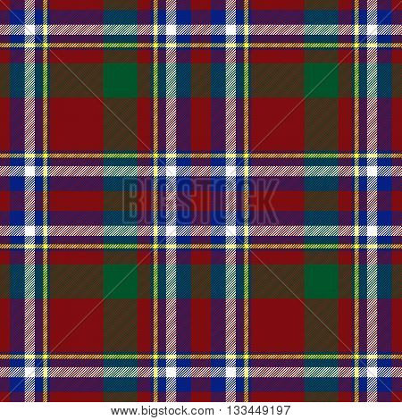 Traditional Scottish red blue green tartan pattern with white stripe made seamless for kilt or bandana