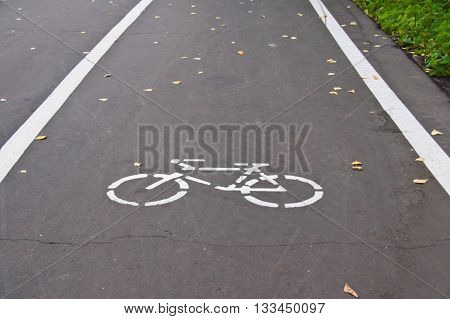 road markings for bicycle on an road