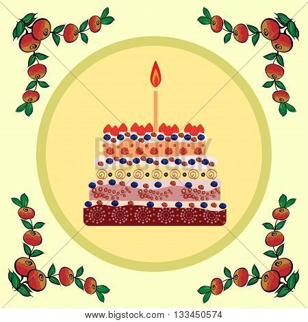 Birthday cake with one candle. One year of life. A cake with candles for his birthday. Holidays and celebrations