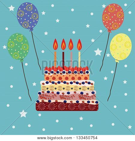 Birthday cake with four candles. Four years. A cake with candles for his birthday. Holidays and celebrations