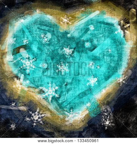 Graphic illustration of a heart with snow flakes