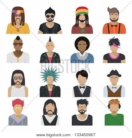 Avatar characters icon set men shoulder-length of all ages and style trends isolated colored and isolated vector illustration