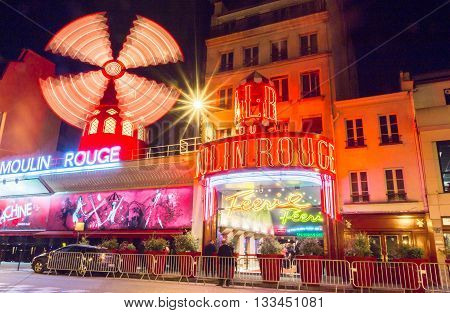 Paris France-June 06 2016 : The famous cabaret Moulin Rouge located in Montmartre quarter at Boulevard Clichy in Paris.
