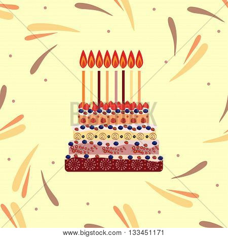 Birthday cake with eight candles. Eight years. A cake with candles for his birthday. Holidays and celebrations