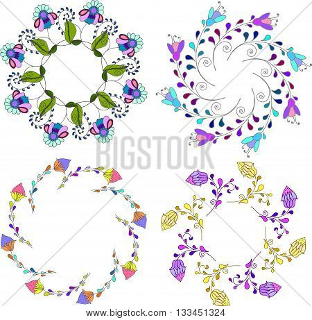 Set of different floral bouquets floral frames vector clip artcolorful and bright floral wreath