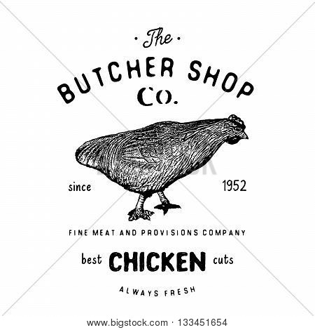 Butcher Shop Vintage Emblem, Chiken Meat Products, Butchery Logo Template Retro Style. Vintage Desig