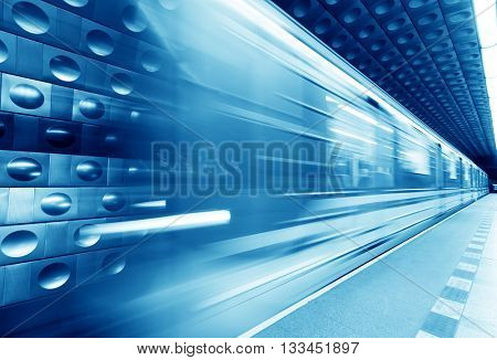 Underground train, subway in motion. Blue tint, travel concept.