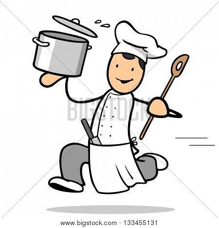 Running cartoon chef cook serving food in a big pot