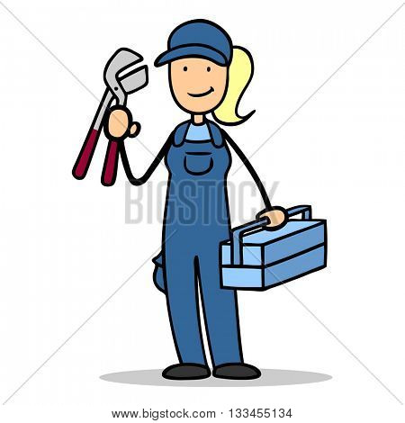 Female cartoon plumber with tools and toolbox