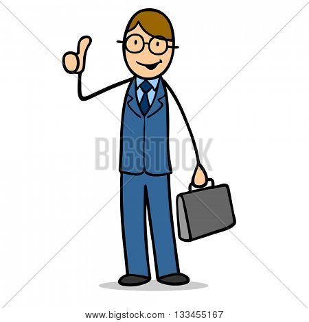Successful cartoon business man holding his thumbs up