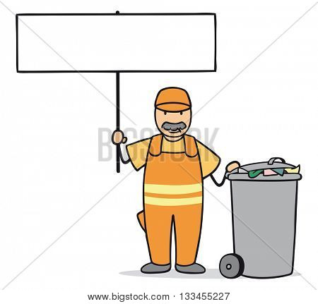 Cartoon garbage disposal man holding up an empty white sign