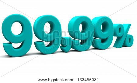 Ninety nine point ninety nine percents 3D text with big fonts isolated on white background. 3D rendering.