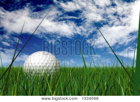 Gold Ball On Grass Blades