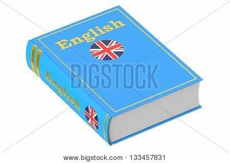 English language textbook 3D rendering isolated on white background
