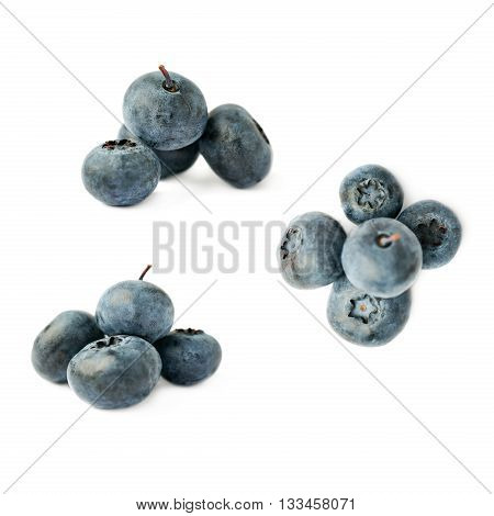 Set of Pile of Ripe bilberry or blueberry over isolated white background