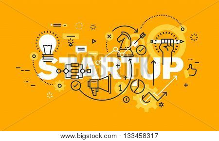 Thin line flat design banner for STARTUP web page, finance, investment, banking, startup loans, new business. Modern vector illustration concept of word STARTUP for website and mobile website banners.