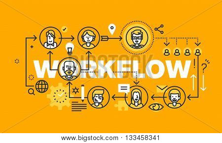 Thin line flat design banner for WORKFLOW web page, business process, project management, teamwork, organization. Modern vector illustration concept of word WORKFLOW for website and mobile website banners.