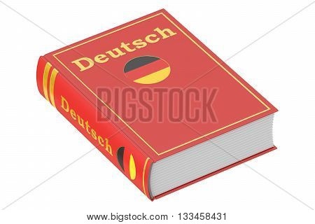 German language textbook 3D rendering isolated on white background