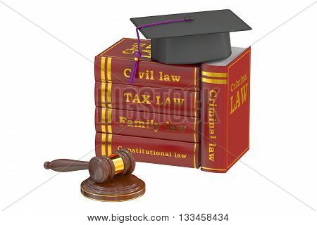Graduation Hat with Judge Gavel and Books Law Education Concept 3D rendering