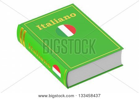 Italian language textbook 3D rendering isolated on white background