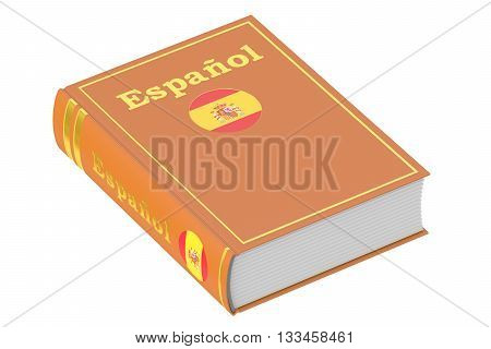 Spanish language textbook 3D rendering isolated on white background