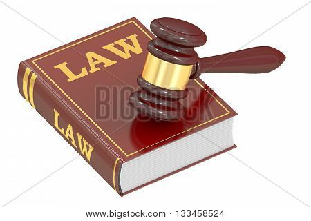Wooden Gavel and Law Book 3D rendering isolated on white background