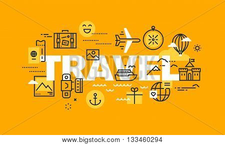 Thin line flat design banner for TRAVEL web page, holiday trip planning, travel destination, tour organization. Modern vector illustration concept of word TRAVEL for website and mobile website banners.