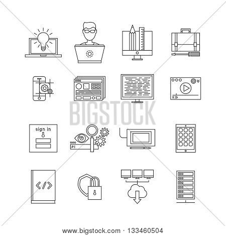 Program development icon set in line style on programming and software themes vector illustration