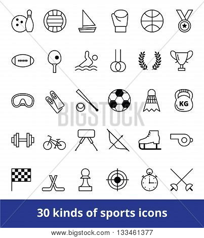 Set of linear vector web icons kinds of sports football hockey tennis volleyball and other