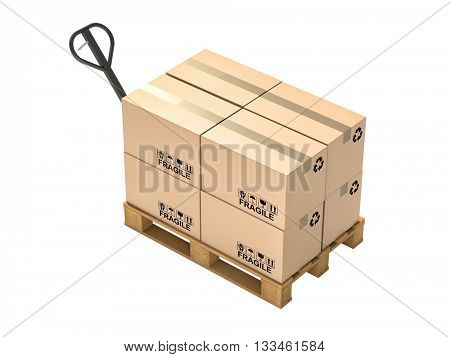 pallet and boxes isolated on white background