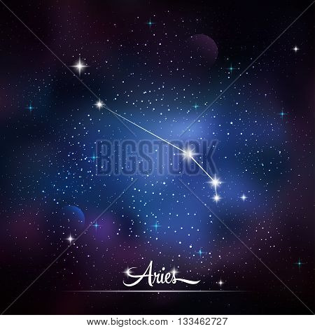 Zodiacal constellation Aries. Galaxy background with sparkling stars. Vector illustration
