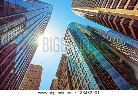 Bottom-up View Of Skyscrapers Mirrored In Glass In Philadelphia