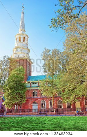Independence Hall In Chestnut Street In Philadelphia Of Pa