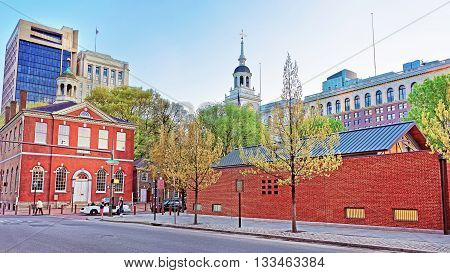 Old City Hall And Independence Hall Of Philadelphia In Evening
