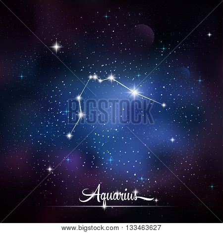 Zodiacal constellation Aquarius. Galaxy background with sparkling stars. Vector illustration