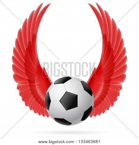 Realistic soccer ball emblem with raised up red wings
