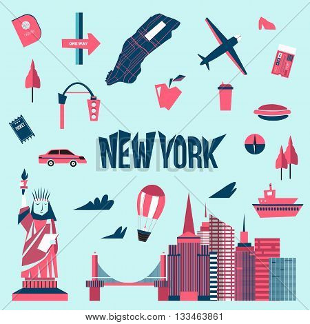 New York city icons in cartoon style. Statue of liberty, map, cityscape, taxi. Modern New York city design