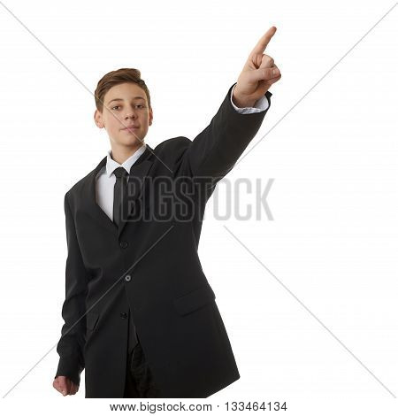 Cute teenager boy in back business suit opointing up side over white isolated background, half body, future career concept