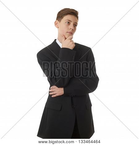 Cute teenager boy in back business suit over with hand over chin white isolated background, half body, future career concept