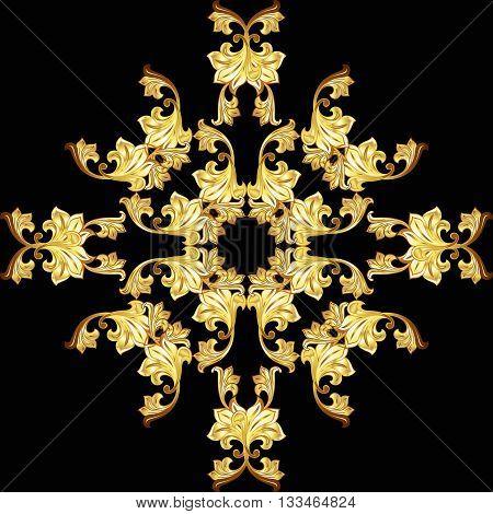 Golden flower ornate pattern on the black background