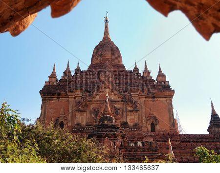 Outdoors view of Htilominlo Temple in Bagan Myanmar. Horizontal shot
