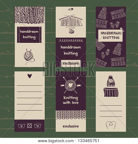 Set Of Labels For Knitwear And Wool.