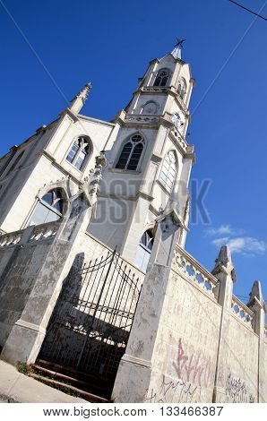 Low angle view of the church Parroquia Las Carmelitas in Valparaiso, Chile