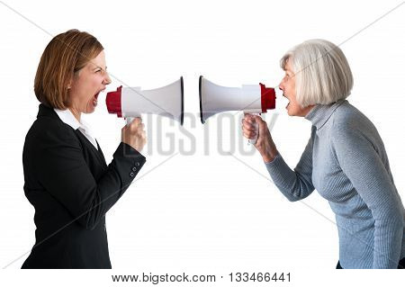 senior and mature women arguing isolated on white