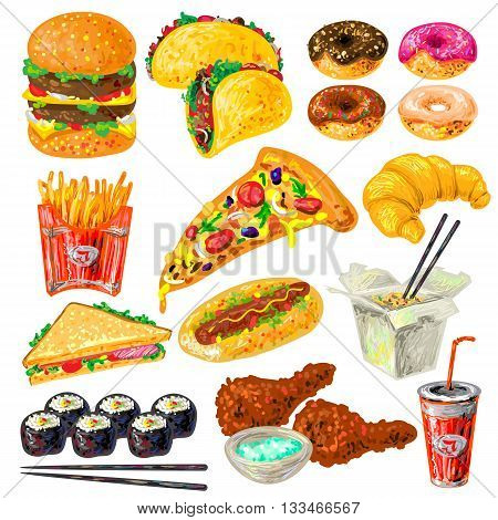 Fast food icon set with not helpful contributing to obesity food and drink vector illustration