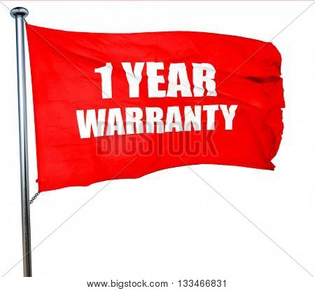 1 year warranty, 3D rendering, a red waving flag