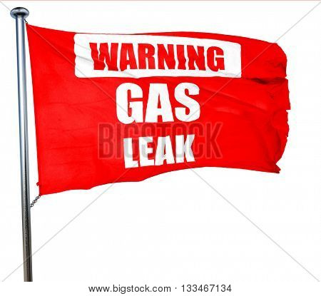 Gas leak background, 3D rendering, a red waving flag
