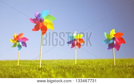 Group of Pinwheels on grass.