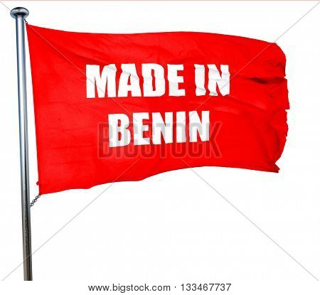 Made in benin, 3D rendering, a red waving flag